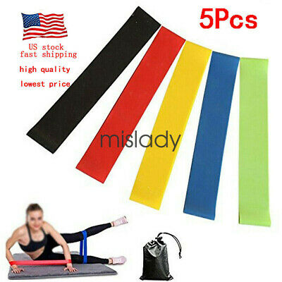 5 in 1 Resistance Loop Exercise Yoga Bands Workout Fitness Training CrossFit