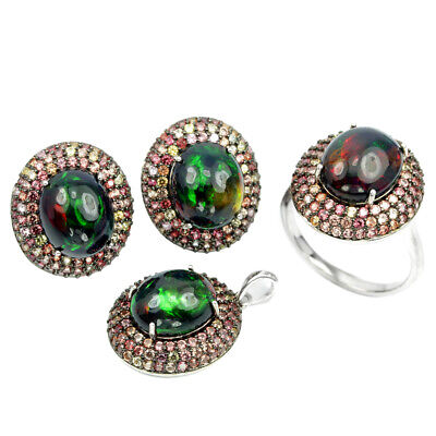 Natural 12X10Mm Rainbow Black Opal & Sapphire Sterling 925 Silver Ring Size 8.25