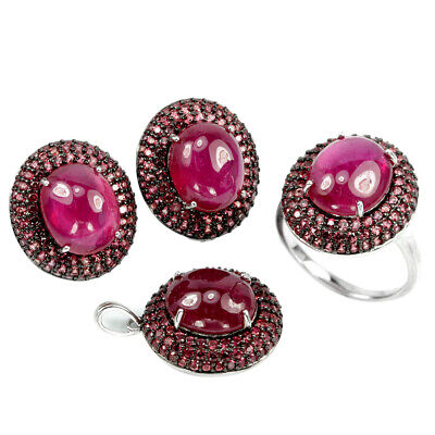 Genuine Pink Red Ruby 12X10Mm. Oval & Sapphire Sterling 925 Silver Set Size 7.25