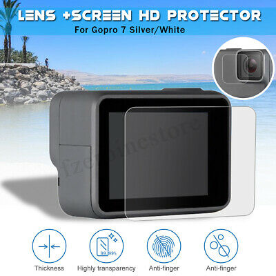 Tempered Glass LCD Screen + Lens Protector For GoPro Hero 7 Silver/White Camera