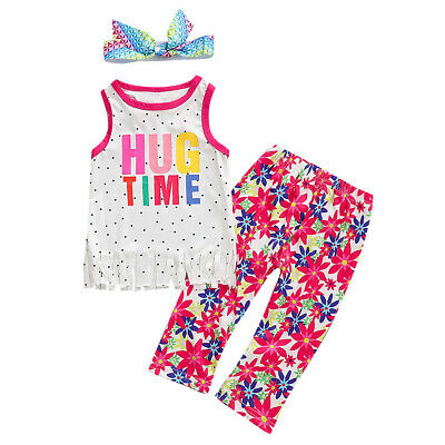 Baby Girl Kids Summer Toddler Outfits Clothes T-shirt Tops+Long Pants 3PCS Set