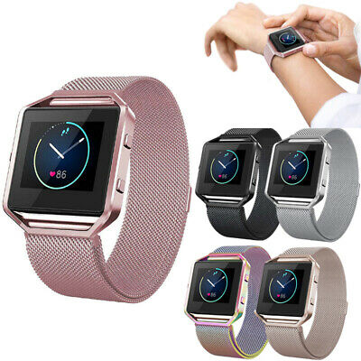 Milanese Magnetic Loop Wrist Band Strap Bracelet + Metal Frame For Fitbit Blaze