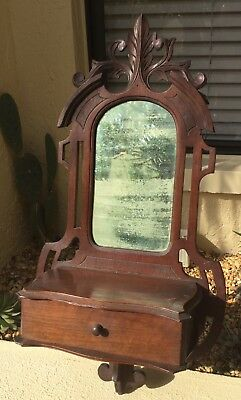 ANTIQUE VICTORIAN EASTLAKE CARVED SOLID WALNUT WALL CABINET w DRAWER & MIRROR