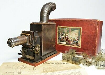 Magic Lantern, hand cranked early cinematograph, x2, by Georges Carette and Bing