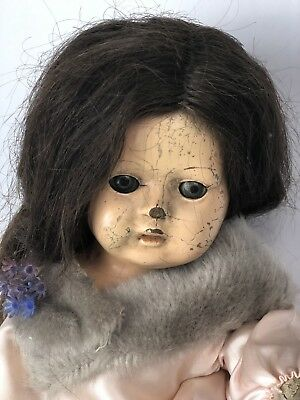 """HAUNTED DOLL Creepy Antique Old Cracked Spooky Scary Sad Mourning 17"""" Tall"""