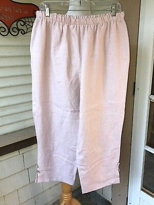 f46294b0130 Eva Tralala Pale Pink Linen Pants Made In Paris France Designer M Perfect