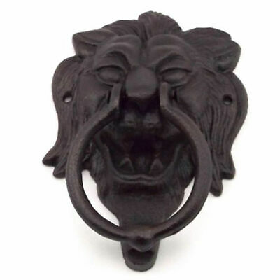 Metal Lion Head Door Knocker Cast Iron Vintage Style Garden Decor Antique Brown