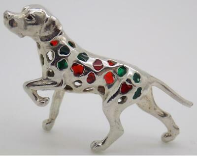 Vintage Solid Silver Italian Made Dog Figurine, Miniature, Stamped