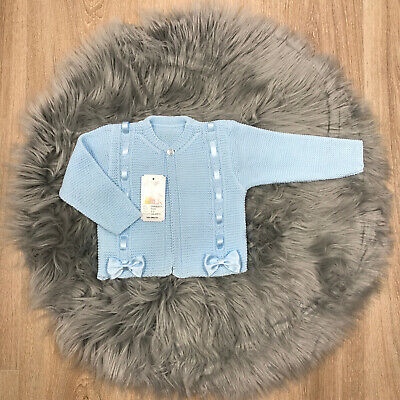 Girls Spanish Baby Blue Ribbon and Bow Knitted Cardigan Spanish Baby Clothes
