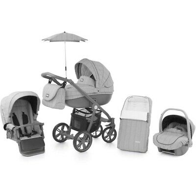 Babystyle Prestige Blaze Grey with Active chassis Car seat bag footmuff parasol