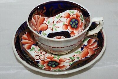 Antique Gaudy Welsh Pottery Cup & Saucer