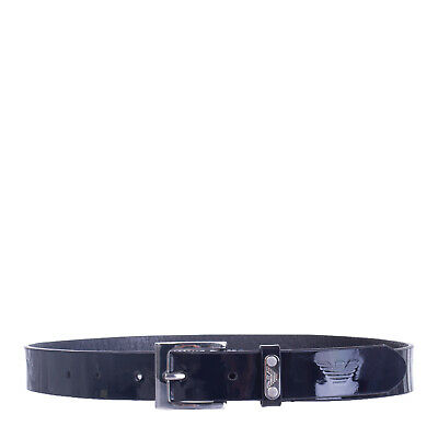ARMANI JUNIOR Leather Belt Size S Patent Panel Pin Buckle Made in Italy