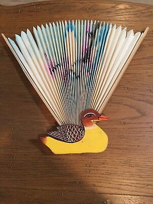 Vintage hand painted  paper & wooden Duck hand fan  - UNIQUE!