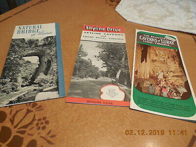 Vtg Lot Group Of 3  Virginia Travel Brochures..bridges, Parks And Caverns