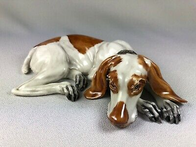 Capodimonte Italy Vintage Porcelain Figurine Of A Dog In Reclining Pose