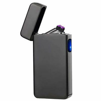 (Black) Dual Arc Plasma Lighter USB Rechargeable Windproof Flameless Butane Free