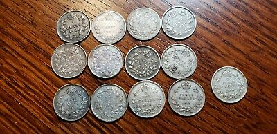 CANADA 5 Cents Silver lot of 13 different 1881-1919