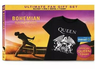 Bohemian Rhapsody (BLU-RAY, DVD, T-Shirt Large) *Ultimate Fan Gift Set* New!!!!!