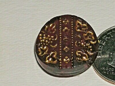 "5/8"" Antique Ruby Red Matte Glass Button incised Luster Grapes Leaves"