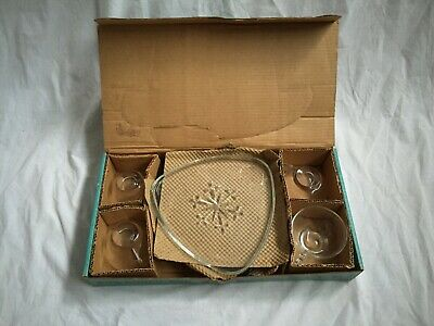 Mid Century Modern Indiana Glass Snowflake SmartSet For 4. Nice Packaging!