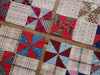 Handpieced c1880 Set Of 6 Antique Tiny Pinwheel QUILT BLOCKS Make Doll or Table