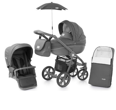 Babystyle Prestige Shark with Active grey chassis Car seat bag footmuff parasol