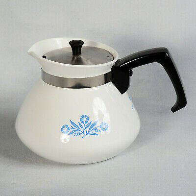 Corning Ware 6 Cup Teapot #1 With Metal Lid - Blue Cornflower