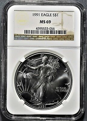 1991 AMERICAN SILVER EAGLE Brown Label NGC MS 69 A8383