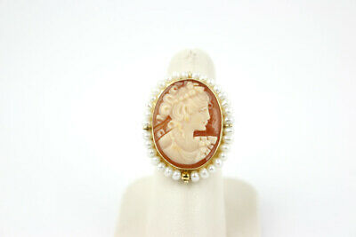 Vintage Italian 14k Yellow Gold, Pearl & Carved Shell Cameo Ring