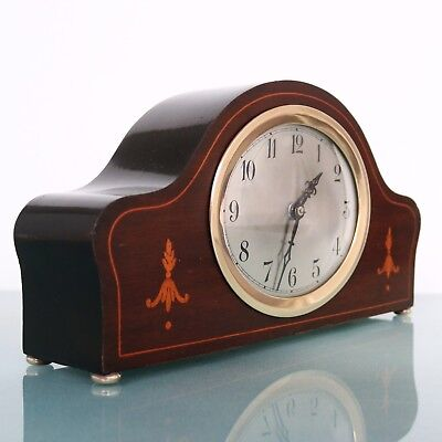 JUNGHANS Antique GERMAN Mantel Clock INLAY SOLID WOOD HIGH GLOSS Multi Coloured