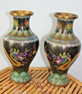 Pair of Vintage cloisonne Dragon chasing the flaming pearl Brass vases, 27 cm
