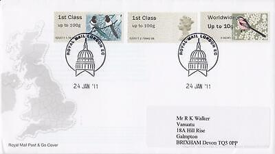 GB 2011 (24th Jan) Birds Post & Go Stamps on Royal Mail Cover