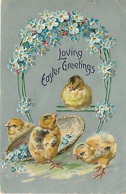 1908 Easter Postcard Tuck's Hatching Chicks Embossed Gilt Series No 112