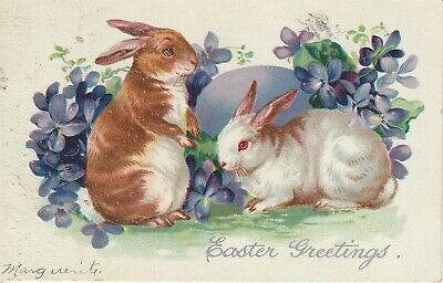 1908 Easter Postcard Tuck's Bunnies Violets Embossed Series No 111