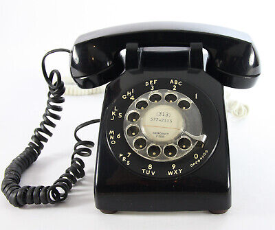 Vintage WESTERN ELECTRIC BLACK 500mm Rotary Dial Desktop Phone