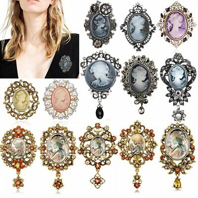 Vintage Cameo Queen Flower Head Beauty Crystal Brooch Pin Wedding Womens Gift