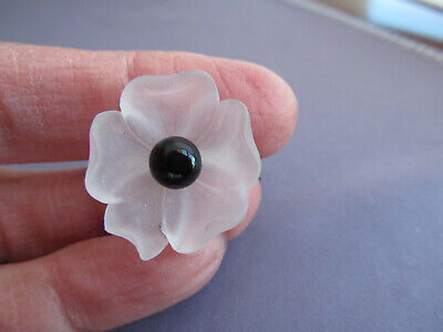 Antique ART DECO 14K WHITE GOLD FLOWER MAGNOLIA FROSTED SATIN GLASS PIN BROOCH