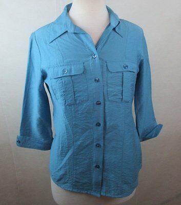 cfbac760 Dressbarn Womens Small S Button Down Shirt Top Blouse Teal Green 3/4 Sleeves