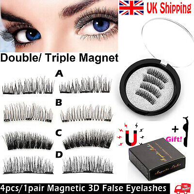 UK Magnetic Eyelashes Reusable Long 3D False Eye Lashes Natural Handmade Lashes