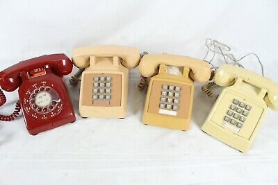 4 Vintage Touch Tone Rotary Phone Telephone Bell System Western Electric Lot Red