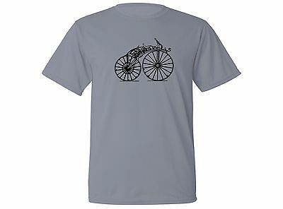 Vintage motorcycle very old bike retro look gray sweat proof fabric new t-shirt