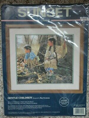 """""""Gentle Children"""" Crewel Embroidery kit by Sunset, 16"""" x 14"""""""