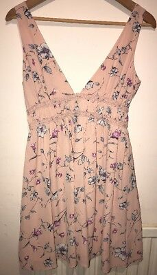 Lucy Wang Pink Rose Summer Floral Dress Size Small 10 Fab Christmas Present