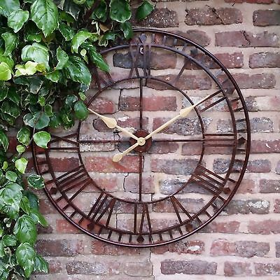Large Garden Skeleton Metal 80Cm Wall Station Clock  Open Face Outdoors