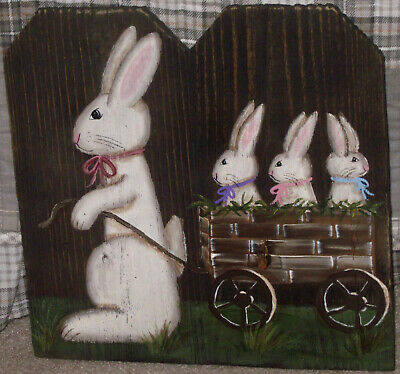 *~*primitive*~* Hp Folk Art Prim Bunny * Cart Of Bunnies *~* Old Reclaimed Wood