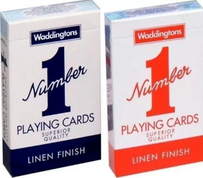 12 X Decks of Waddingtons No1 Classic Playing Cards Red & Blue Poker Game Boxed