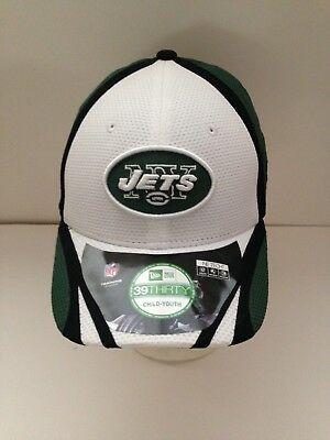 NEW YORK JETS New Era 39Thirty Kids Stretch fit hat White Green 4-7 ... 4d2703da6