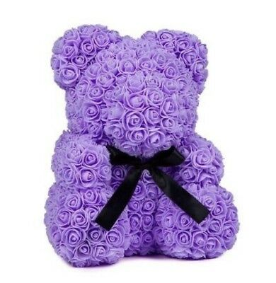 2019 The Original Purple Rose Flower Teddy Bear Valentine Day Gift NEW 25CM