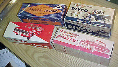 Lot of four 1950s promotional model car boxes- AMT, MPC, JoHan