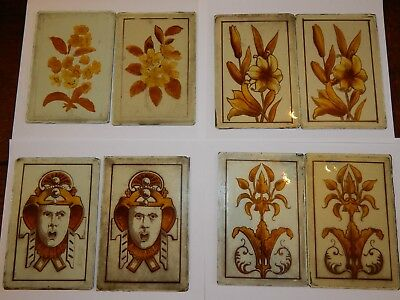 COLLECTION 8 ANTIQUE VICTORIAN KILN FIRED STAINED GLASS PANELS ~ AESTHETIC 19thC